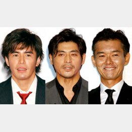 左から、伊藤英明、坂口憲二、渡部篤郎/(C)日刊ゲンダイ
