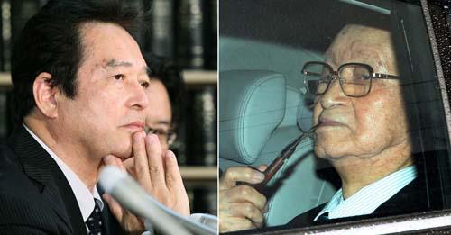 公判後会見する清武氏(左)と東京地裁を去る渡辺会長/(C)日刊ゲンダイ