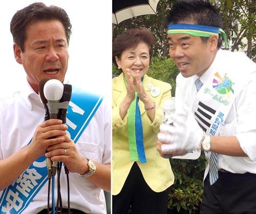 小鑓候補と三日月候補/(C)日刊ゲンダイ