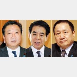 野田前首相、下村文科相、山田事務局長/(C)日刊ゲンダイ