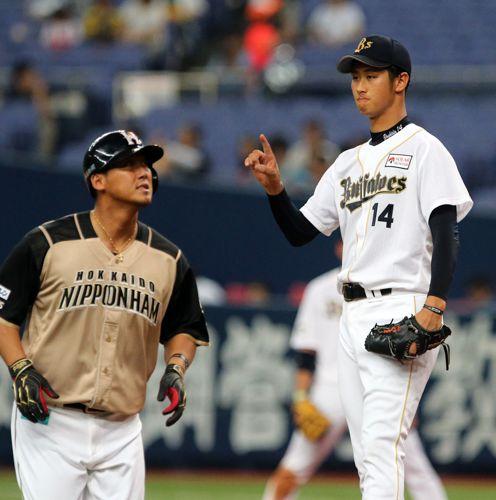 中田翔(左)を左飛に打ち取った吉田/(C)日刊ゲンダイ