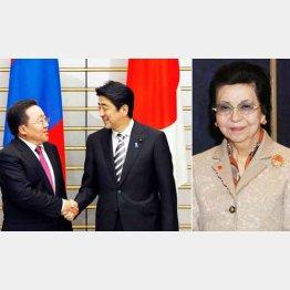 モンゴル大統領との首脳会談(左・AP)と安倍首相の母・洋子さん/(C)日刊ゲンダイ