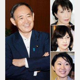 菅官房長官は早々留任決定、右上から高市、稲田、小渕3議員/(C)日刊ゲンダイ