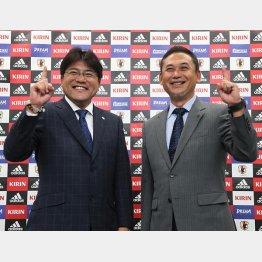 アジア大会メンバーを発表した手倉森監督(左)と佐々木監督 (C)六川則夫/ラ・ストラーダ