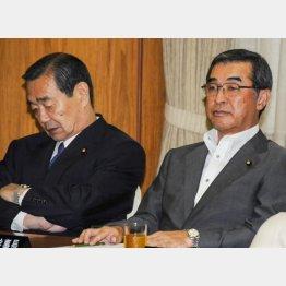 火花散らす溝手参院会長と脇参院幹事長/(C)日刊ゲンダイ