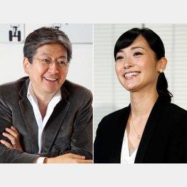 松本大マネックス証券社長(左)と大江麻理子アナウンサー/(C)日刊ゲンダイ