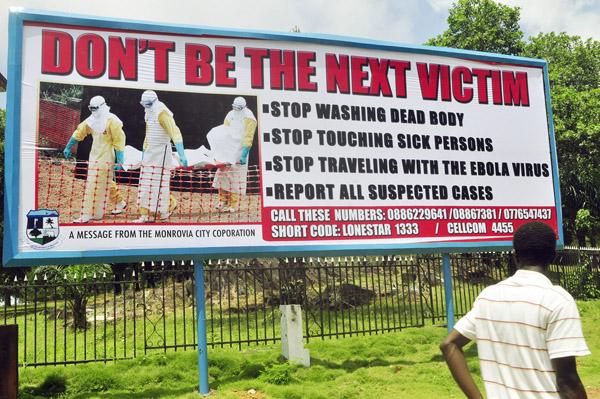 リベリアでは看板でも注意喚起/(C)AP