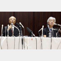「吉田調書」報道で謝罪する木村社長(左)と杉浦取締役編集担当/(C)日刊ゲンダイ