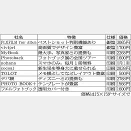 フォトブックを手掛ける主要10社/(C)日刊ゲンダイ