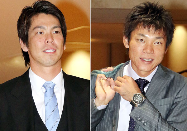 マエケン(左)も大島もギブアップ/(C)日刊ゲンダイ