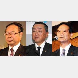 ただでは済まない(左から望月、宮沢、西川の各大臣)/(C)日刊ゲンダイ