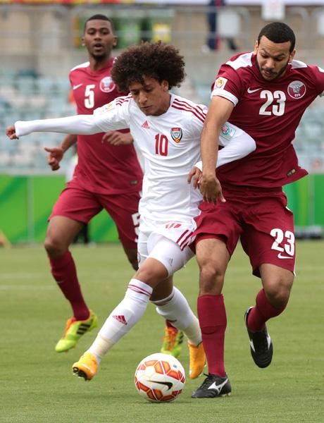 UAEのMFオマール、アフロヘアが目印/(C)AP