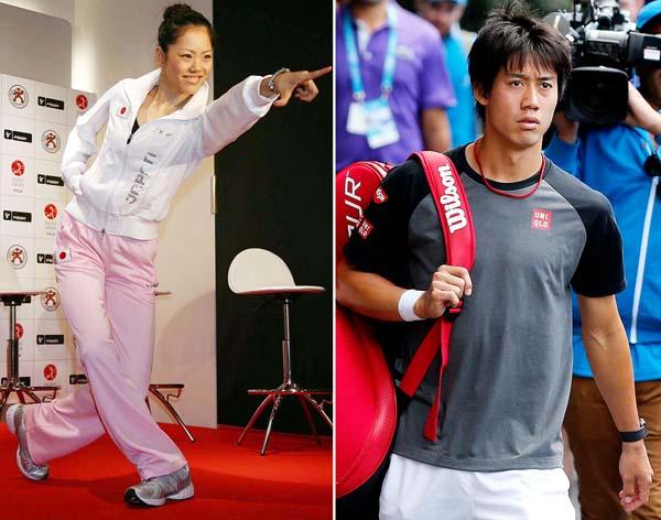 坪井保菜美さん(左)と錦織圭はすでに交際5年を超えた/(C)AP