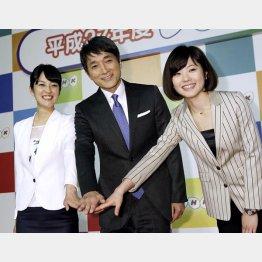 左から鈴木奈穂子アナ、河野憲治新キャスター、佐々木彩アナ/(C)日刊ゲンダイ