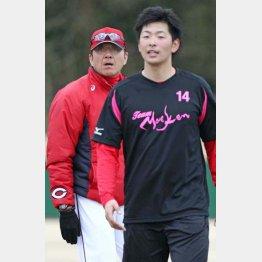 畝龍実投手コーチ(左)と大瀬良/(C)日刊ゲンダイ
