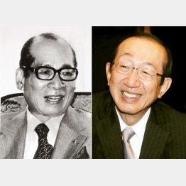 安藤百福氏(左)、宏基氏(右)から一族に続く/(C)日刊ゲンダイ