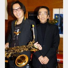 バリトンサックス奏者の吉田隆一氏(左)と/(C)日刊ゲンダイ