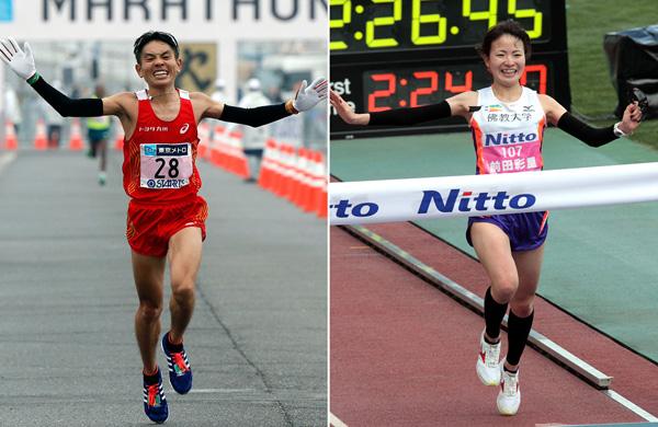 8月の世界選手権(北京)マラソン代表に選ばれた今井正人(左)と前田彩里(C)日刊ゲンダイ