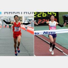 8月の世界選手権(北京)マラソン代表に選ばれた今井正人(左)と前田彩里