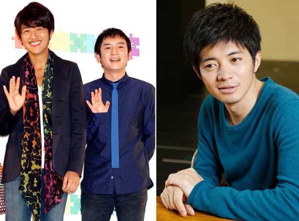 ゆず(左2人)と和田正人(C)日刊ゲンダイ