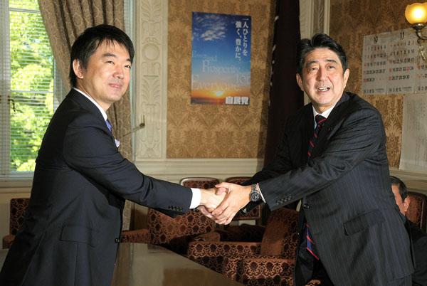 安倍首相(右)と橋下大阪市長(C)日刊ゲンダイ