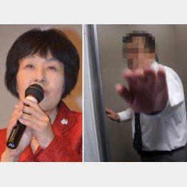 高橋知事と恫喝したスタッフ(撮影=横田一氏)