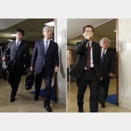 自民党の聴取に入るテレビ朝日(左)とNHKの幹部ら(C)日刊ゲンダイ