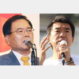 竹本直一大阪府連会長(左)と橋下大阪市長(C)日刊ゲンダイ