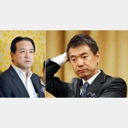 維新の党の江田代表(左)と橋下大阪市長