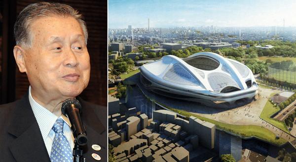 森元首相と新国立競技場イメージ図(右・日本スポーツ振興センター提供)