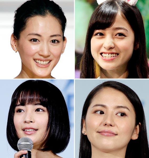左上から時計回りに、綾瀬はるか・橋本環奈・長澤まさみ・広瀬すず(C)日刊ゲンダイ
