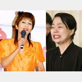 会見で号泣する今くるよ(右)/(C)日刊ゲンダイ