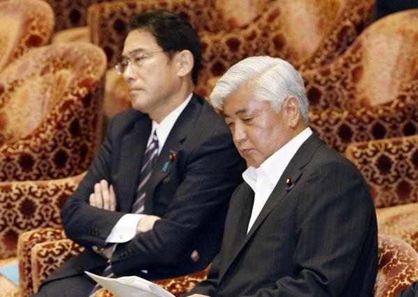 あいまい答弁を繰り返す岸田外相(左)と中谷防衛相(C)日刊ゲンダイ