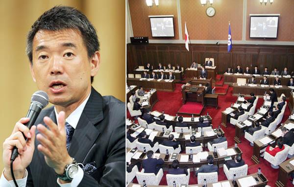 橋下大阪市長と大阪府議会(C)日刊ゲンダイ
