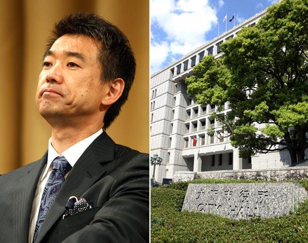 橋下市長と大阪市役所(C)日刊ゲンダイ