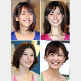 左上から時計回りに、前田有紀、市川寛子、小林麻耶、神田愛花