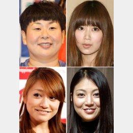 左上から時計回りに、大島美幸、絢香、後藤理沙、仁科仁美(C)日刊ゲンダイ