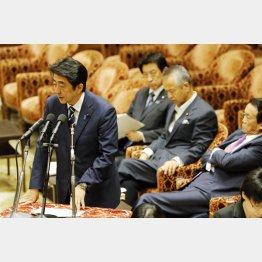 平和安全法制特別委での安倍首相(C)日刊ゲンダイ