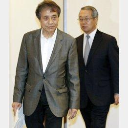 安藤氏と共に会見を行った河野JSC理事長(右)/(C)日刊ゲンダイ