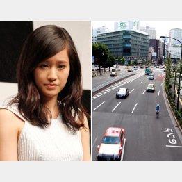 接触事故を起こした前田敦子と事故現場(右)