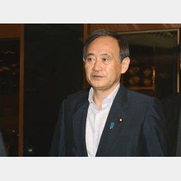会見で写真を公表した菅官房長官(C)日刊ゲンダイ