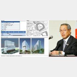 建設計画の概要(新宿区HPから)と河野JSC理事長(C)日刊ゲンダイ