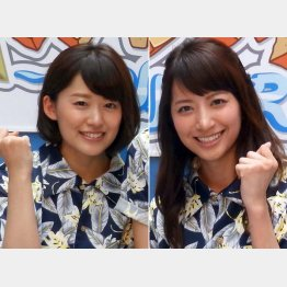 日本テレビの尾崎里紗アナ(左)と笹崎里菜アナ(C)日刊ゲンダイ
