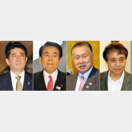 左から安倍首相、下村文科相、森会長、建築家の安藤氏