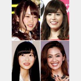 左上から時計回りに川栄李奈、神田愛花、中村アン、指原莉乃