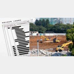 黒塗りだらけの見積書と新国立競技場予定地(C)日刊ゲンダイ