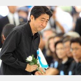 6月は、沖縄慰霊祭で献花した(C)日刊ゲンダイ