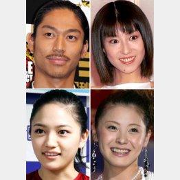 左上から時計回りにAKIRA、真中瞳(現・東風万智子)、松浦亜弥、川口春奈(C)日刊ゲンダイ