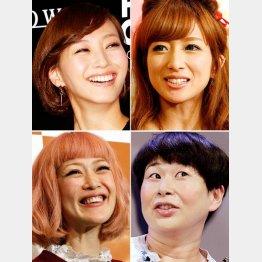左上から時計回りに、藤本美貴、辻希美、大島美幸、松嶋尚美