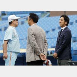 原監督(左)と話をする藤川(右)/(C)日刊ゲンダイ